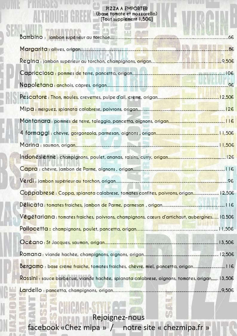 Carte à emporter - Pizzeria Chez Mipa à Betton