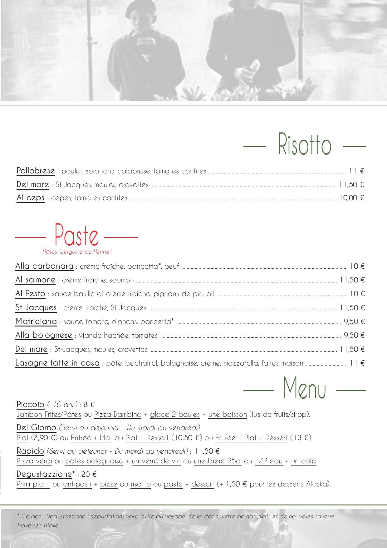 Carte sur place - Pizzeria Chez Mipa à Betton